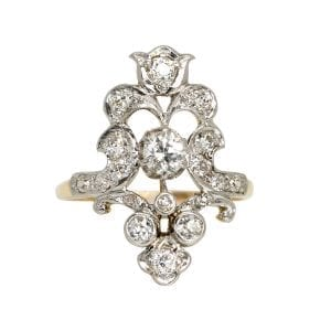 Coco-Florence-antique-and-vintage-rings-Ellie-yellow-gold-platinum-diamond-ring- from-front